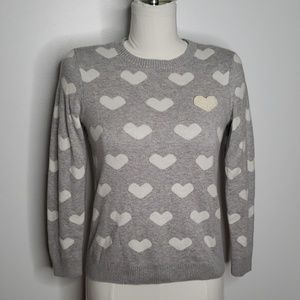 Charter Club Gray and White Hearts Sweater Sz. M